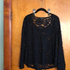 Express stretch black lace bell sleeve top
